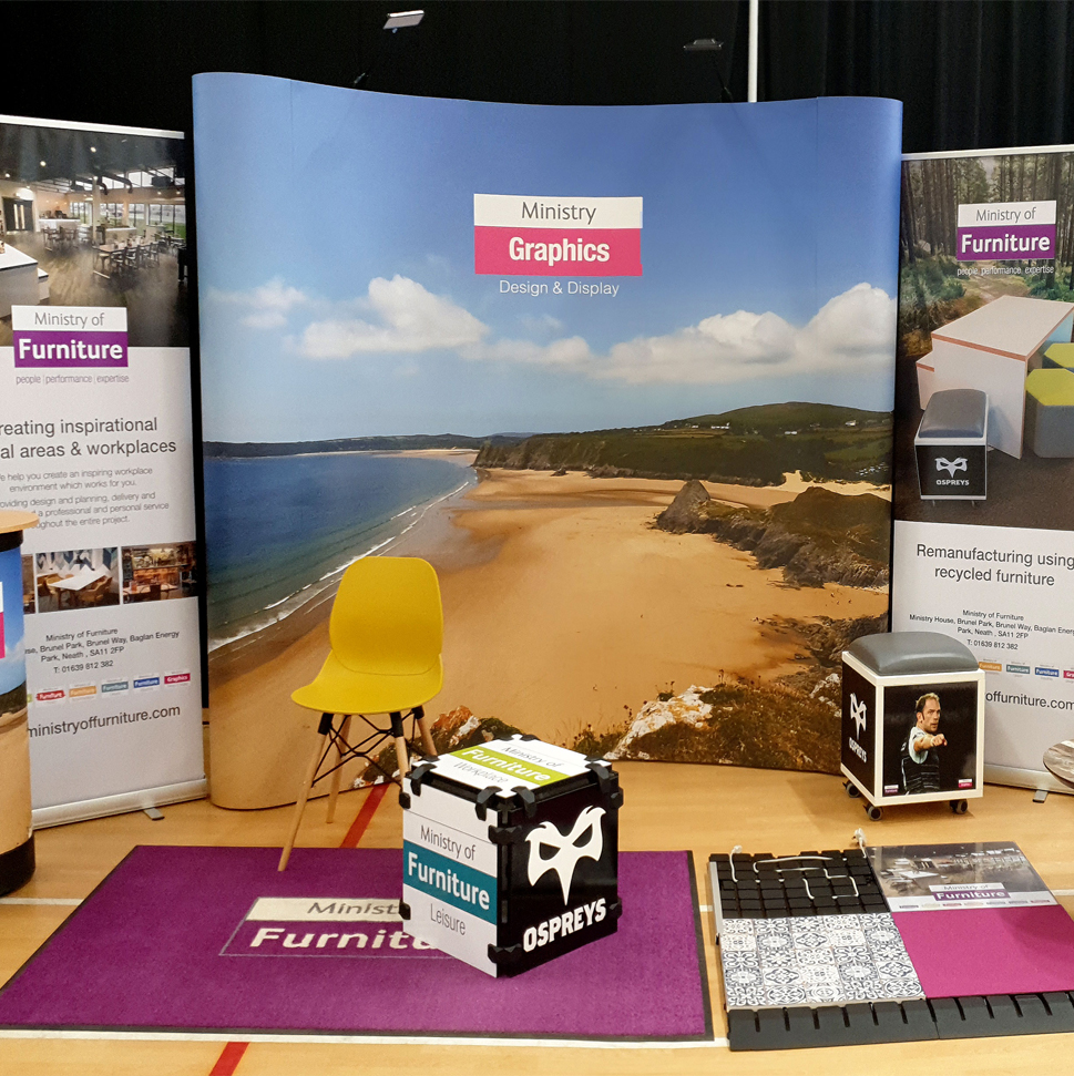 Exhibition display with pop-up and pull-up banners