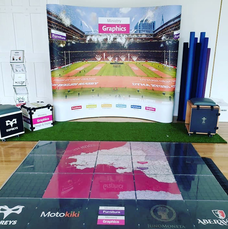 Exhibition event display banner and flooring